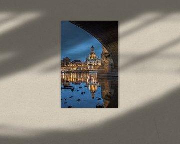 Dresden Onze-Lieve-Vrouwekerk bij nacht van Sergej Nickel