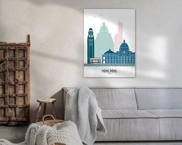 Skyline-Illustration der Stadt Hongkong in Farbe von Mevrouw Emmer