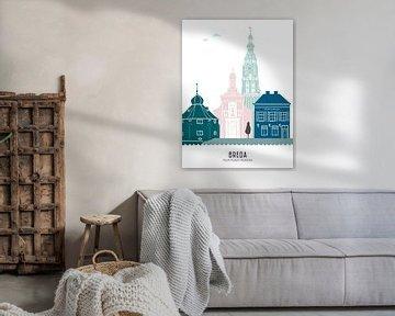 Skyline illustratie stad Breda in kleur van Mevrouw Emmer