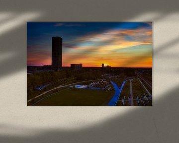 Coucher de soleil Spoorpark Tilburg sur Freddie de Roeck