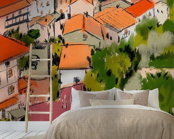 Sfeerimpressie behang: Pastel Frankrijk van Pieter Hogenbirk