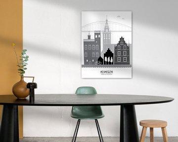 Skyline Illustration Stadt Nijmegen schwarz-weiß-grau von Mevrouw Emmer