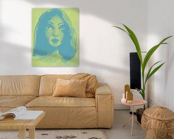 Portrait bicolore vert-jaune et bleu sur Wanddecoratie