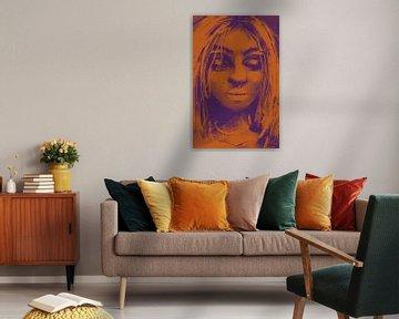 Orange und lila Kunstwerk - Frau mit geschlossenen Augen von Wanddecoratie