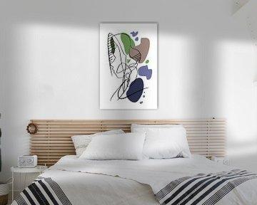 Strichzeichnung mit Farbflächen von Wanddecoratie