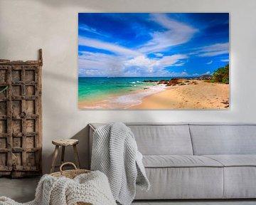 Belle plage de sable blanc et d'eau bleue sur Yevgen Belich