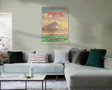 Japan Mount Fuji Travel Poster van David Potter