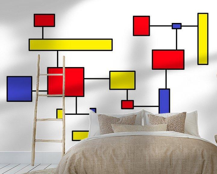 Sfeerimpressie behang: Mondrianoïde 7 van Henk-Jan van Tuyl