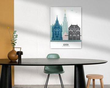 Skyline illustratie stad Gouda in kleur van Mevrouw Emmer