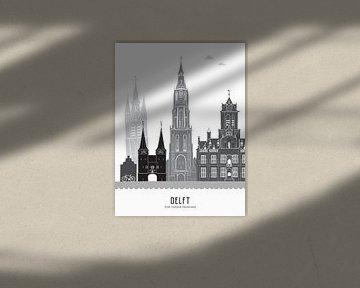Skyline illustratie stad Delft zwart-wit-grijs van Mevrouw Emmer
