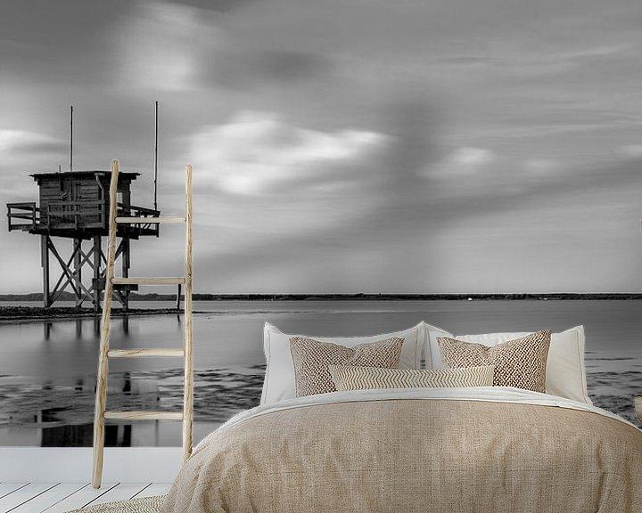 Sfeerimpressie behang: Scharendijke duikplaats met hut van Rob van der Teen