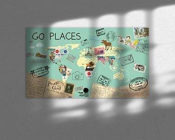 Go Places Welt Karte von Green Nest
