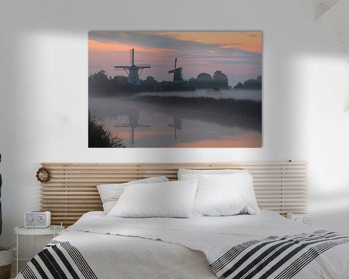 Sfeerimpressie: Een nevelige zonsopkomst bij het Damsterdiep in Ten Boer van Ron Buist