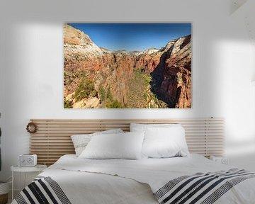 Zicht op Zion Canyon vanaf Angels Landing van Markus Lange