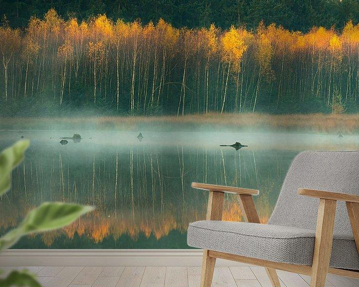Sfeerimpressie behang: Nevel op het water bij Bakkeveen van Ron Buist