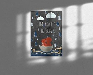 Typografie Print - Find beauty in rain van Green Nest