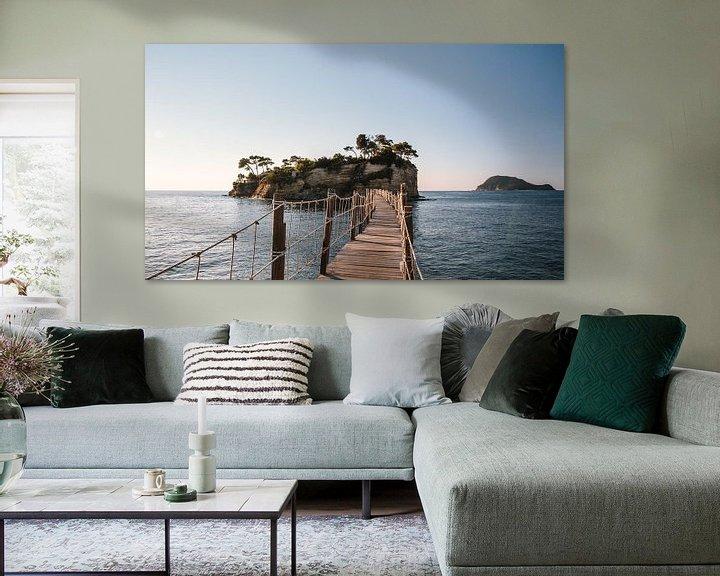 Beispiel: Fußgängerbrücke zur Cameo-Insel, in der Ferne Marathonisi (Turtle Island) von Rob van Dongen