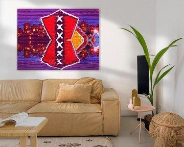 Schilderij van het wapen van Amsterdam met Amsterdamse huizen van Nisangha Masselink