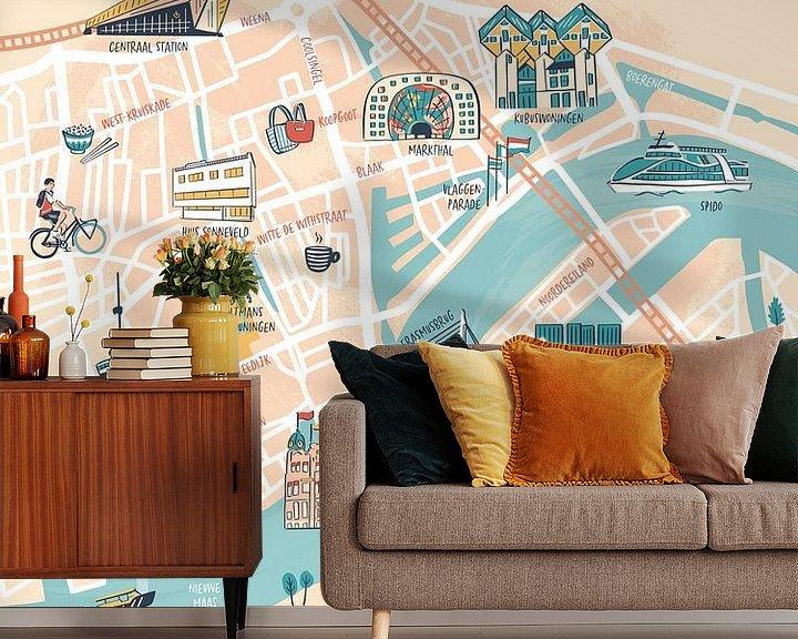 Beispiel fototapete: Rotterdam illustrierte Karte von Karin van der Vegt