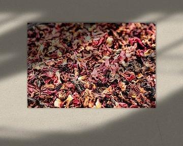 Macro close-up met details van de hibiscus theebloem van Dieter Walther