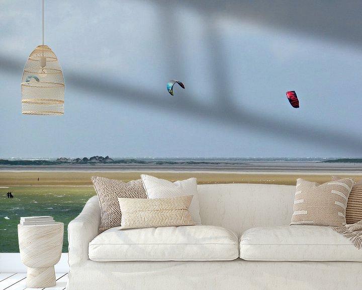 Sfeerimpressie behang: Kitesurfen op Terschelling van Jessica Berendsen