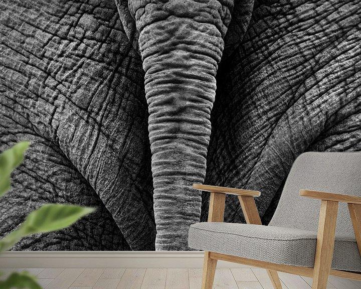 Sfeerimpressie behang: Olifantenstaart zwart-wit van Bart van Dinten