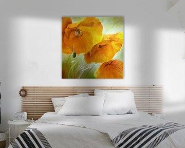 Trois fois coquelicot - or et orange