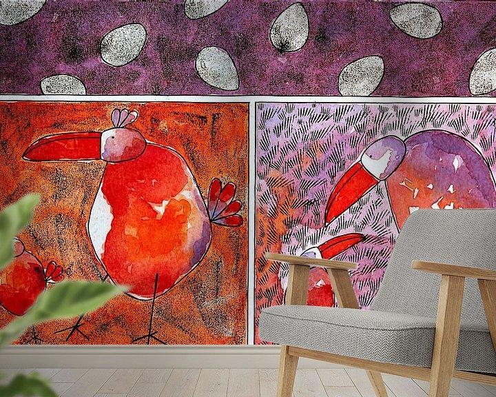 Sfeerimpressie behang: TWO OF A KIND van Ans de Bie
