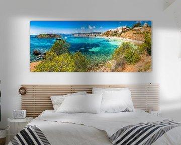 Panoramisch uitzicht op baai strand in Puerto Portals Nous van Alex Winter