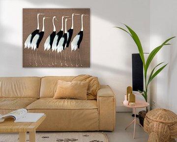 Japan Kraanvogels op Beige Bruin van Mad Dog Art