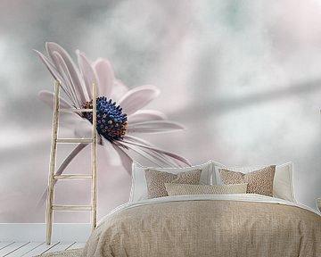 Zacht roze en blauwe bloem van Kyle van Bavel