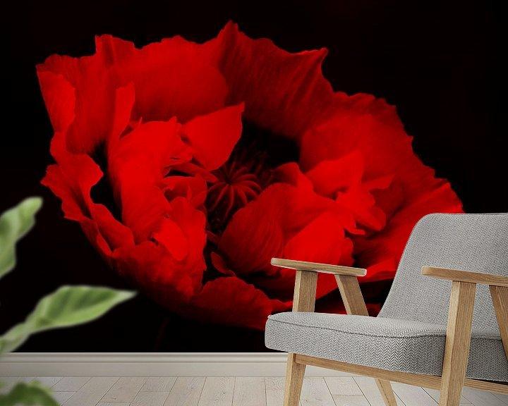 Sfeerimpressie behang: rood&zwart van Yvonne Blokland