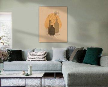 Stilleven illustratie van drie bloemen in drie flessen van Tanja Udelhofen