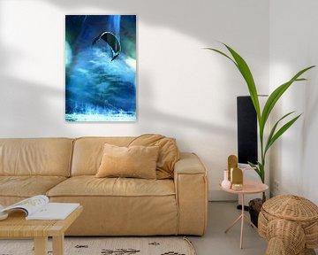 Kitesurfen in blau von Yvonne Blokland