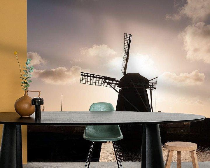 Sfeerimpressie behang: A Siluet of a windmill van Brian Morgan
