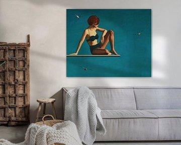 Olieverfschilderij van een vrouw zittend op een duikplank van Jan Keteleer