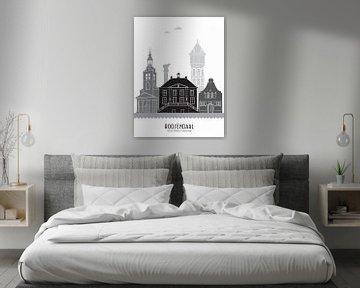 Skyline illustratie stad Roosendaal zwart-wit-grijs van Mevrouw Emmer