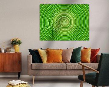 Your Turn Green (Mandala Spiraal in Groen) van Caroline Lichthart