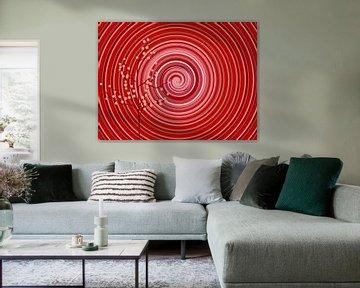 Your Turn Red (Mandala Spiraal in Rood) van Caroline Lichthart
