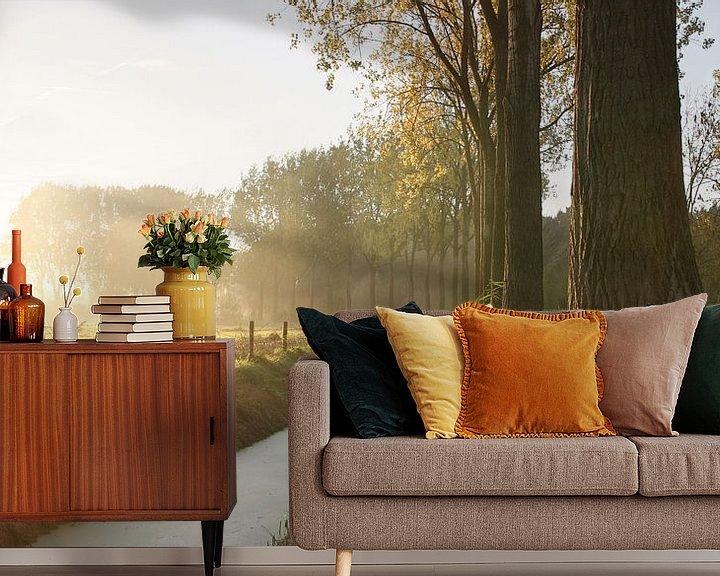 Sfeerimpressie behang: Nederlandse herfst ochtend van Mark Leeman