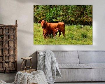 Kuh mit Kälbchen von Gisela Scheffbuch