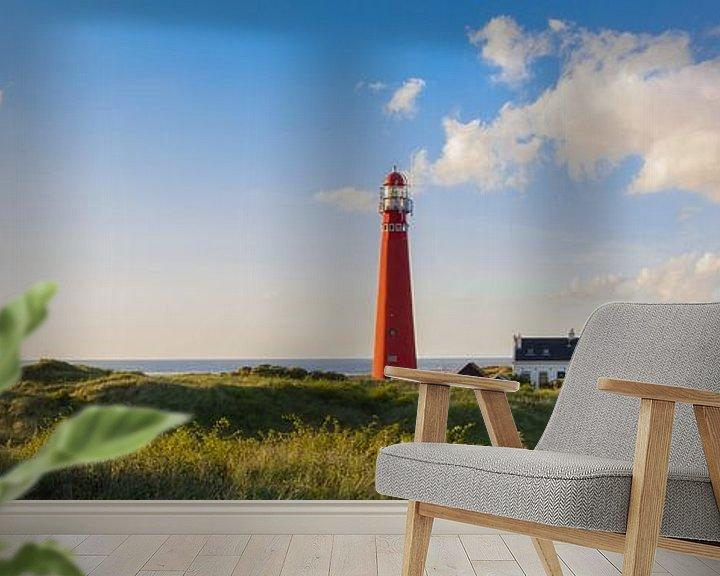 Sfeerimpressie behang: Zonnige kust vuurtoren Schiermonnikoog van Joris Beudel