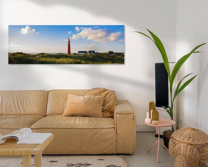 Sfeerimpressie: Zonnige kust vuurtoren Schiermonnikoog van Joris Beudel