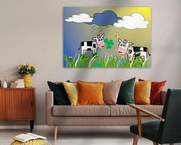 Kinderzimmerbild  -  Cows von Roswitha Lorz