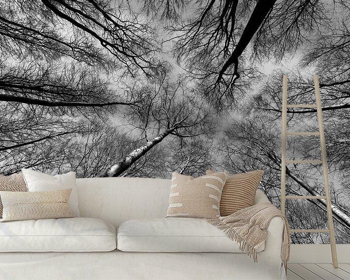 Sfeerimpressie behang: Reach out to the sky - Zwart/Wit van Remco Bosshard