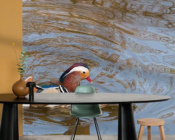 Beispiel fototapete: Mating Mandarin Ducks von Erik Zachte