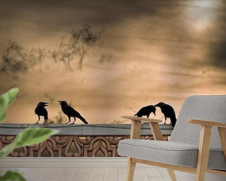 Sfeerimpressie behang: Vogels bij zonsondergang van Marcel van Balken