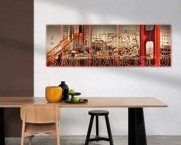 Golden Gate Bridge & San Francisco Collage van Melanie Viola