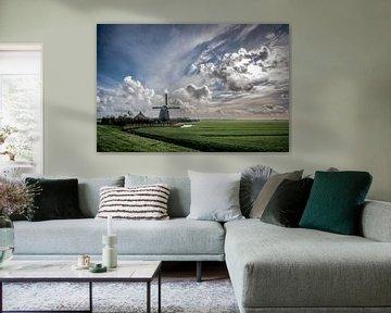 Noord Hollands landschap met molen van Arjen Schippers