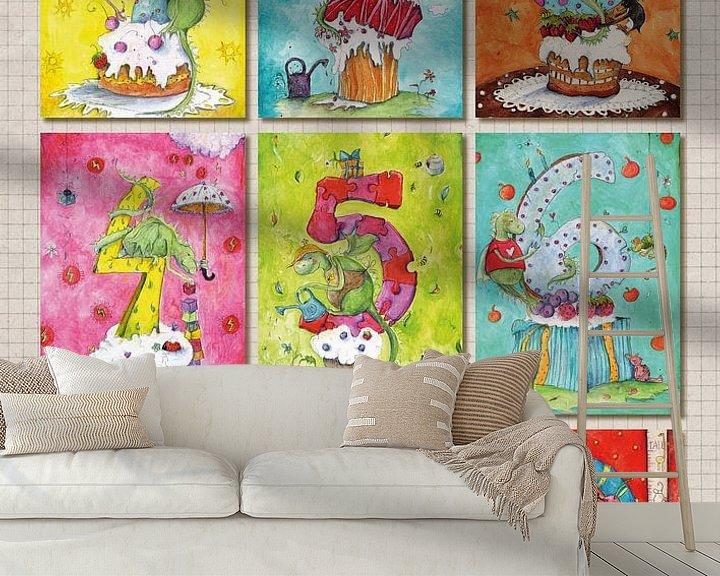 Sfeerimpressie behang: Dragons numbers, nummerposter van keanne van de Kreeke